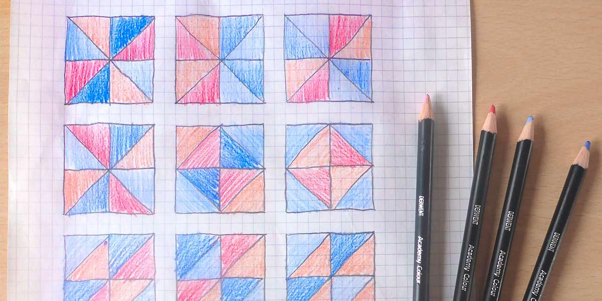 Hoe maak ik een quilt-kussen: stap 2: ontwerpen en knippen