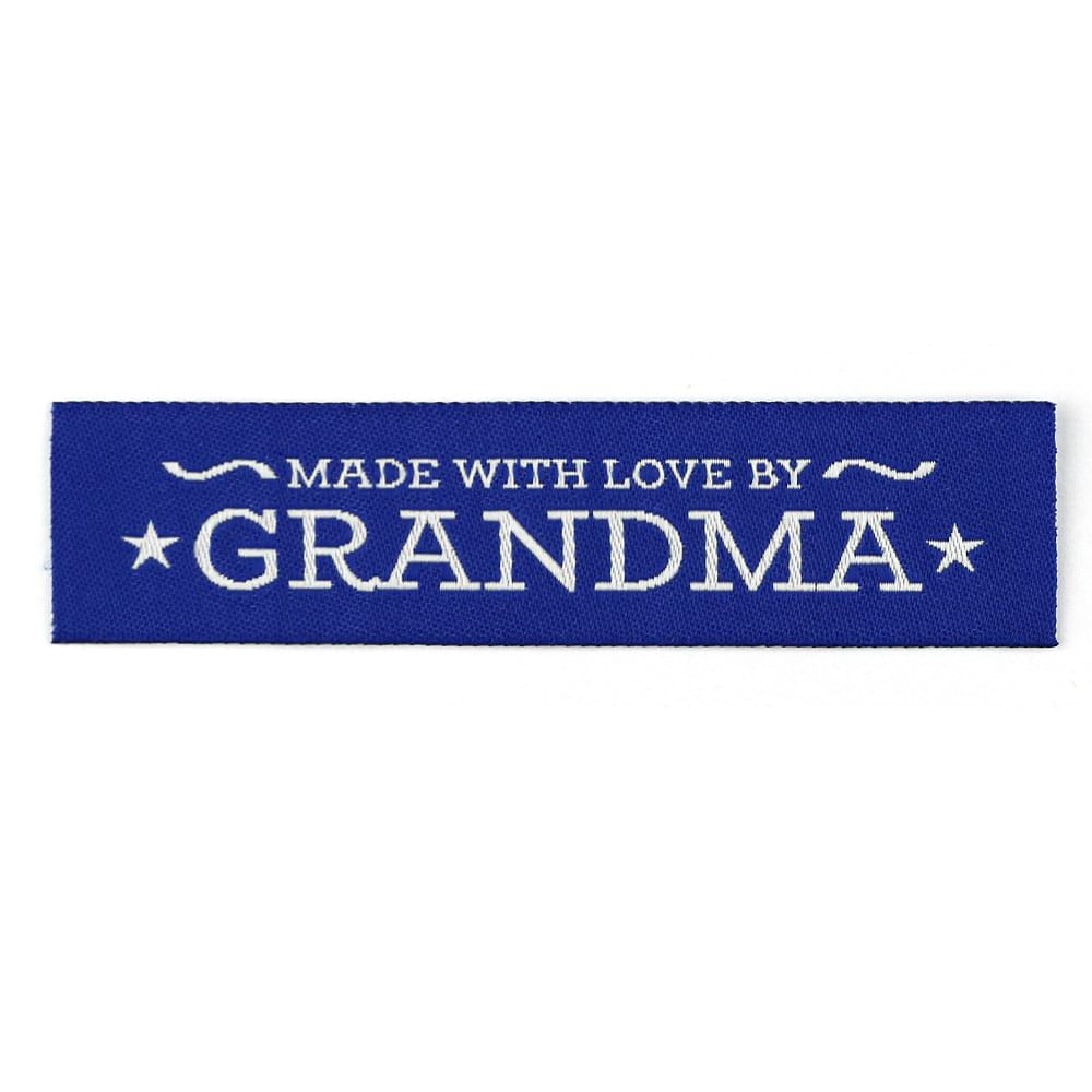 Geweven Labels - Made with Love by Grandma - Blauw