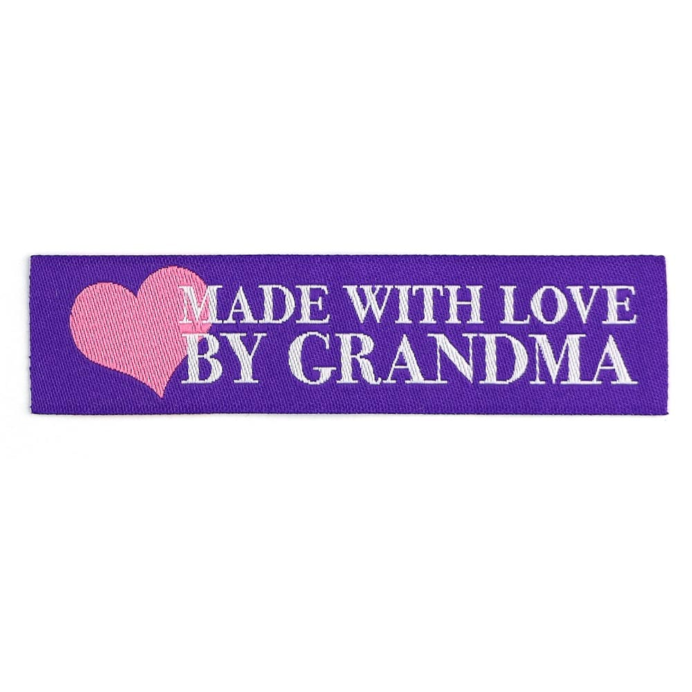 Geweven Labels - Made with Love by Grandma - Paars