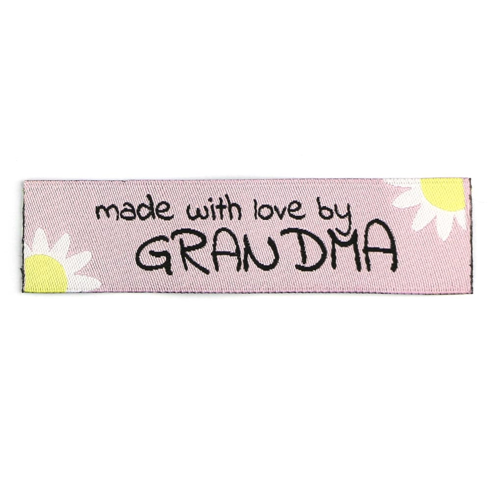 Geweven Labels - Made with Love by Grandma - Roze