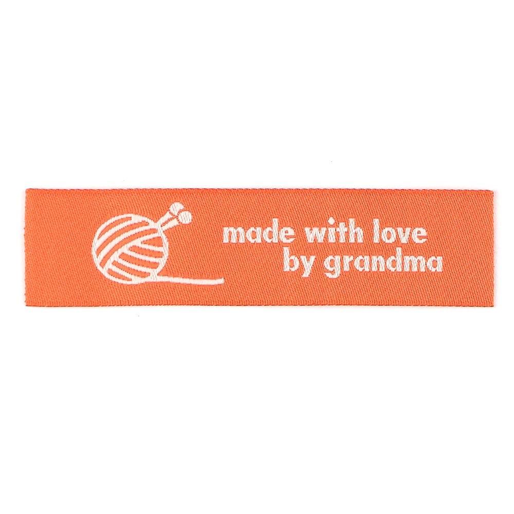 Geweven Labels - Made with Love by Grandma - Oranje