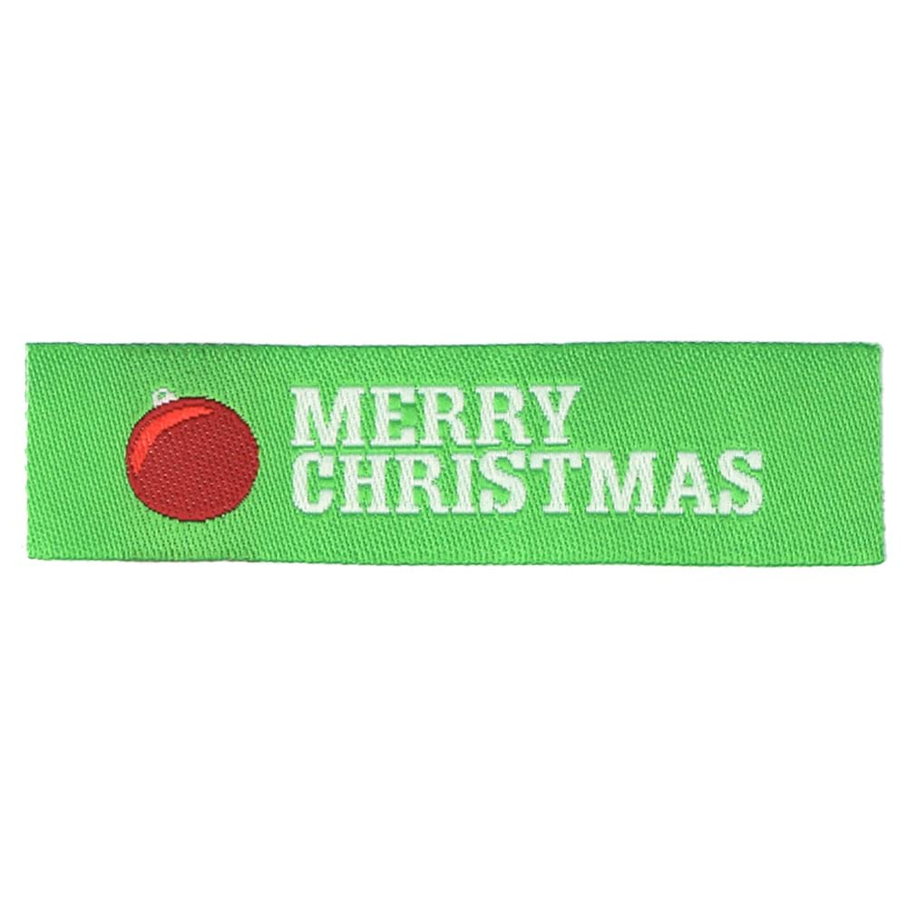 Christmas Geweven Labels - Rode Kerstbal